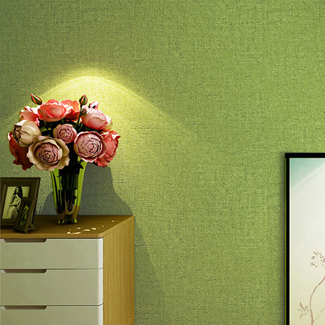 Solid Green Color Plain Wallpaper Modern Pure Wall Paper Bedroom Living Room Home Decor 10m Roll
