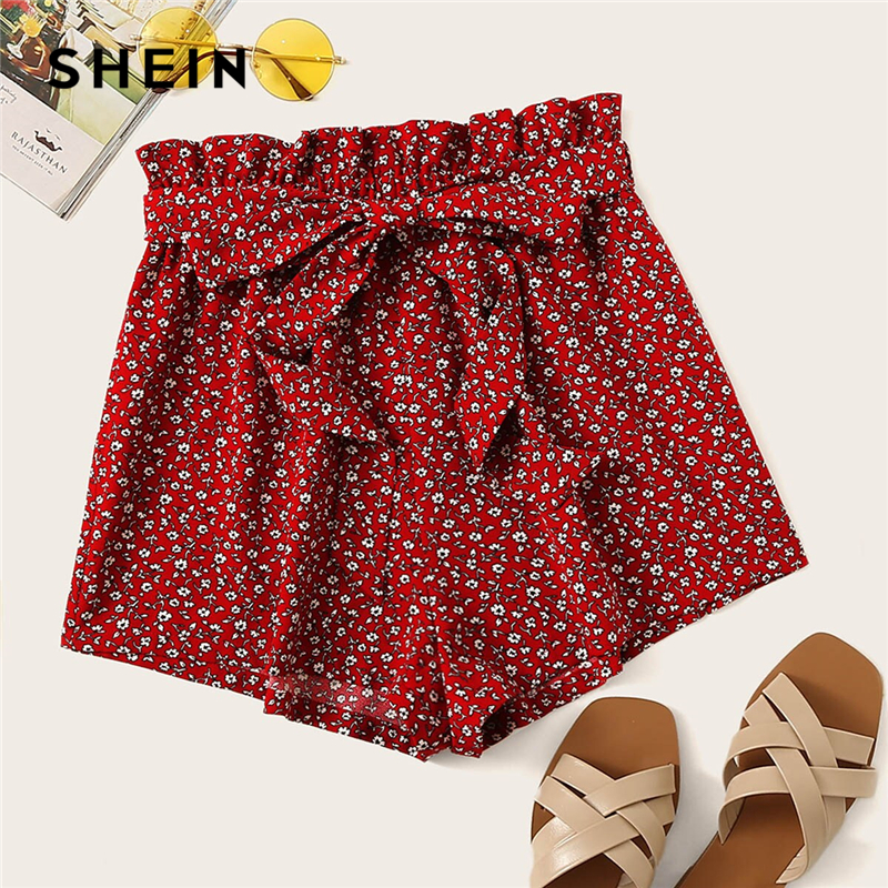SHEIN Paperbag Waist Slant Pocket Ditsy Floral Shorts Boho Summer Red High Waist Shorts Culottes Elastic Waist Women Shorts