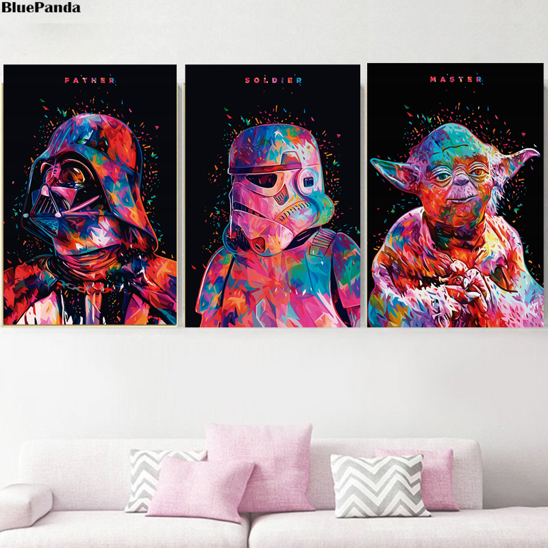 Colored Star Wars Pop Art Minimalist Wallpaper Darth Vader Yoda Stormtrooper 3cpo Jedi Canvas Painting Print Wall Decor Pictures Painting Calligraphy Aliexpress