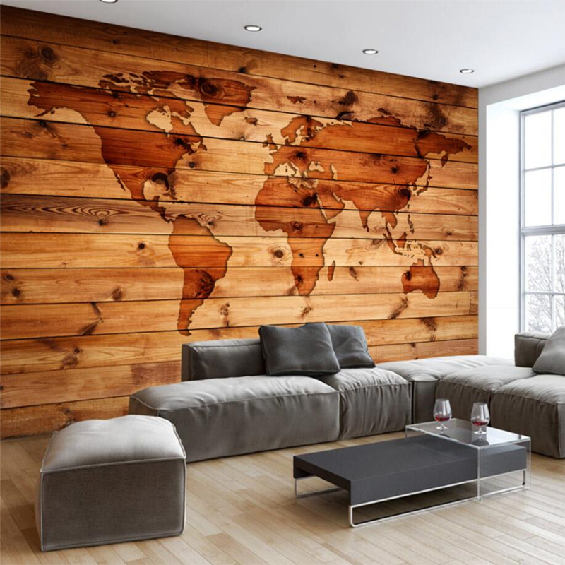 beibehang Custom 3d Wallpaper Continental Retro Vintage World Map Wood Grain Bar Coffee Shop Mural Wall Background 自宅 ワイン セラー