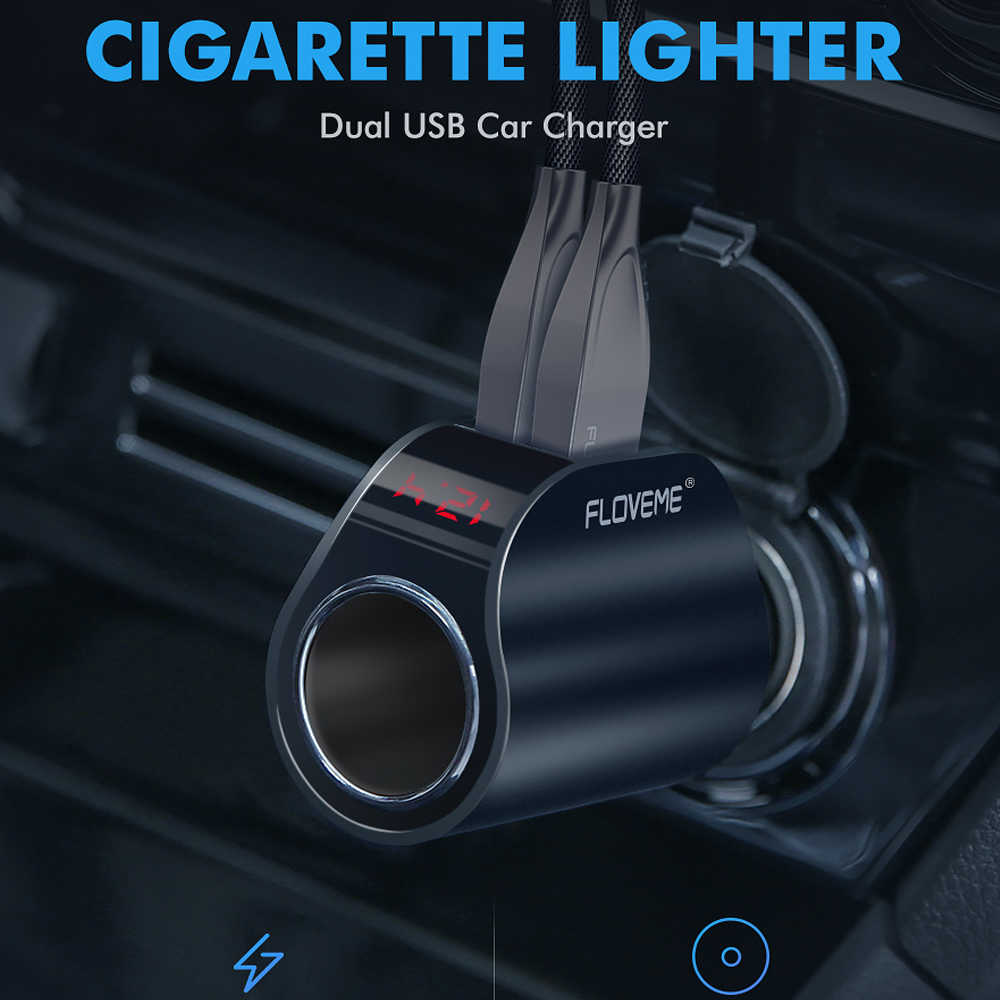 FLOVEME المزدوج USB شاحن سيارة شاشة ديجيتال محول لتحديد المواقع ل شاومي Redmi نوت 7 3.1A سريع سيارة شاحن آيفون 8 7 شواحن