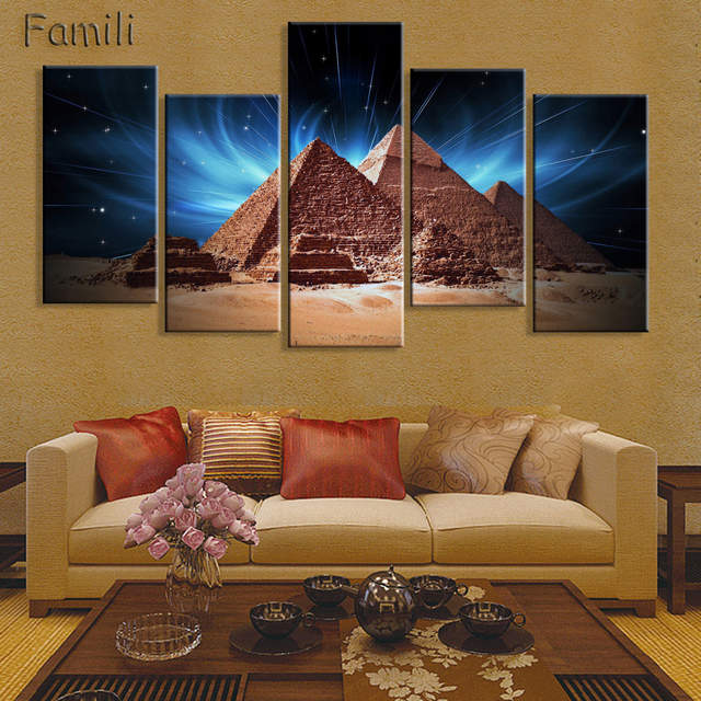 Remarkable Us 12 71 25 Off 5 Pieces Set Great Sphinx Of Egypt Modern Wall Art For Wall Decor Home Decoration Picture Paint On Canvas Prints Painting In Andrewgaddart Wooden Chair Designs For Living Room Andrewgaddartcom