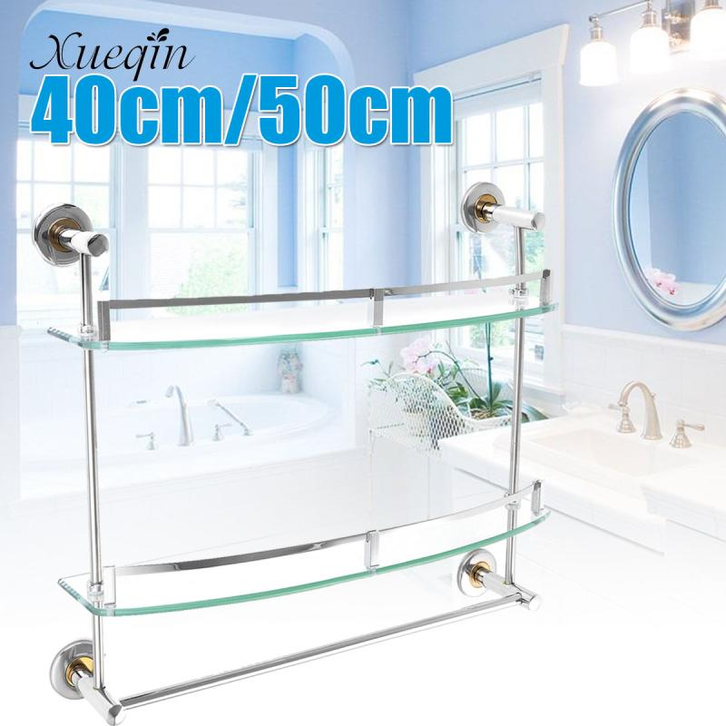 Bathroom Shelf Double Tier Wall Toilet Shelves Glass Bathroom Shower Shelf Rack Holder Wall Mounted Cosmetic Storage Organizer free shipping single tier bathroom aluminium shelf with towel bar rack wall mounted kitchen storage organizer shelves 50 12 12cm