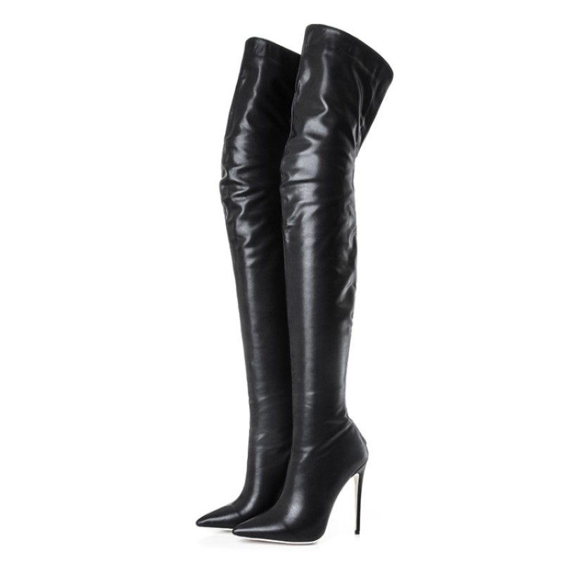 SHOFOO shoes,Beautiful fashion free mail, PU fabric, 11 cm high heel boots, pointed toe boots,over-the- knee boots.SIZE:34-45