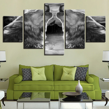 Canvas HD Prints Poster Home Decor Wall Art Framework 5 Piece Abstract Gray Black Wolf Howl Painting Living Room Animal Pictures black howl