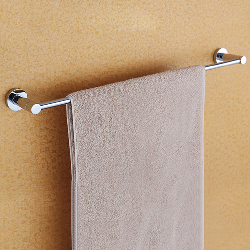 Single Towel Bar Wall Mounted Polished Chrome Hanging Towel Racks with 304 Stainless Steel and Copper for Bathroom & Kitchen aothpher chrome 60cm wall mounted bathroom chrome polish towel bars towels racks stainless single towel bar for bathroom