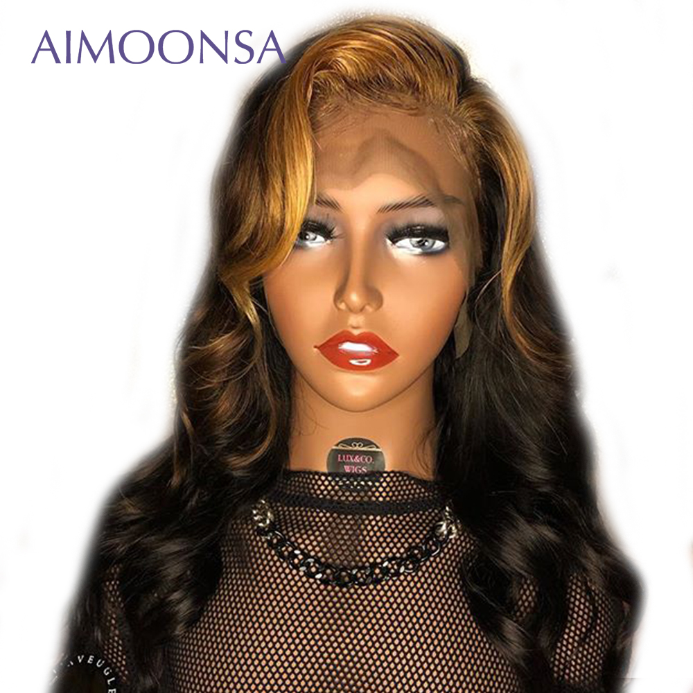 Bleaching And Dyeing Honey Blonde Lace Front Wigs Ombre Human Hair Wig 1B30 Colored Wig Body Wave Remy For Women Aimoonsa