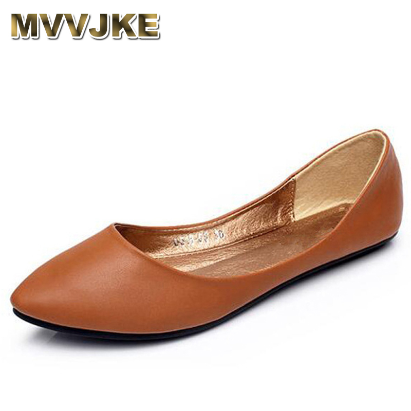 MVVJKE Women Flats 2018 New Summer Casual Shoes Woman Solid Pointed Toe Slip-On Flat Shoes Soft Comfortable Women Shoes Plus 2017 new women flower flats slip on cotton fabric casual shoes comfortable round toe student flat shoes woman plus size 2812w page 2