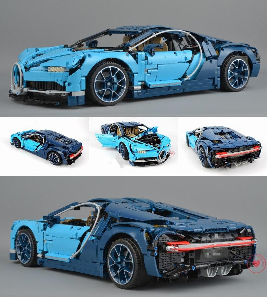 Новый гоночный автомобиль синий скорость подходит legoings техника bugattied модель здания Хирон город блок кирпичи подарок Малыш diy 42083 игрушки для