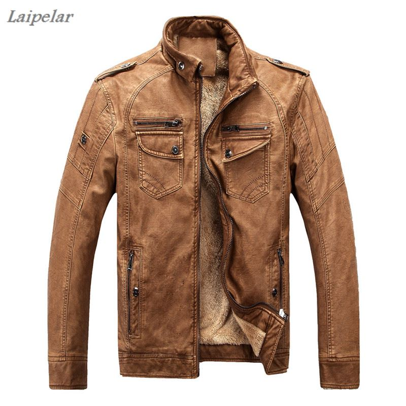 Hot brand quality Autumn And Winter men leather jacket warm plus velvet coat leisure men jacket motorcycle Windproof PU leather