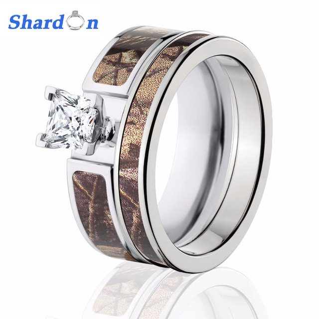 SHARDON Womenu0027s Brown Realtree Camo Engagement Ring Set Titanium 6 Prong  Setting CZ Pink Camo Ring