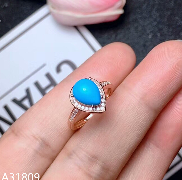 цены на KJJEAXCMY Fine jewelry 925 pure silver inlaid natural turquoise female ring jewelry water drop shape