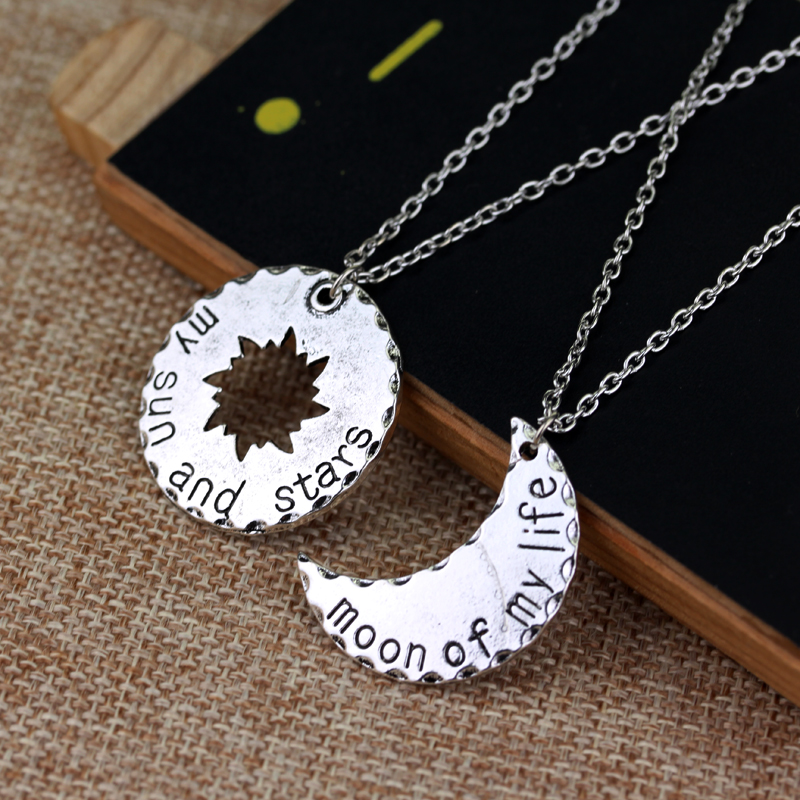 10 Sets/Lot His&Hers Khal/Khaleesi Necklace Game Of Thrones Necklace Moon Of My Life My Sun Stars Pendant Necklace For Lovers