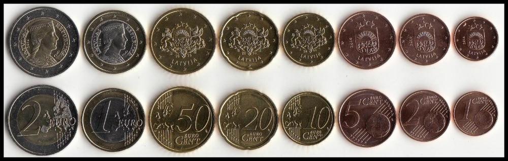 Latvia 8pieces Set UNC original Coin Not circulated high value