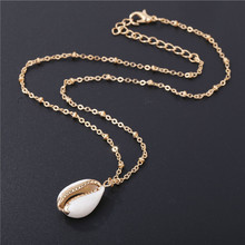 Fashion Natural Shells Golden Ocean Seashell Cowrie Necklace Beach Vinatge Pendant Jewelry Conch Shell