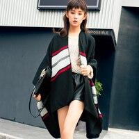 كبير شال عباءة المرأة شتاء طويل سميك الأوروبية الطازجة الأسود والأحمر مع شال مهدب وشاح كبير