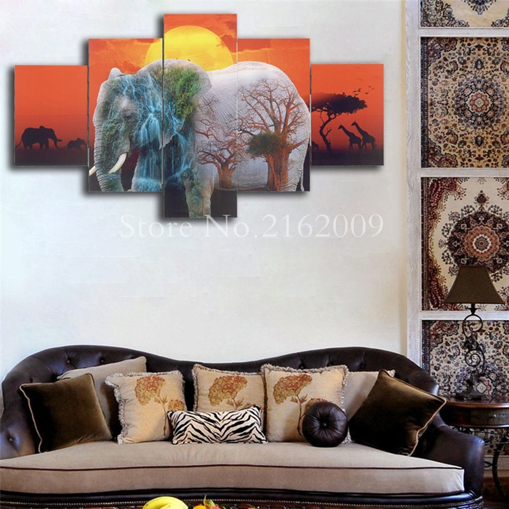 5 Panels Elephant Group in the sun setting Abstract Painting for ...