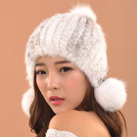 Real Natural Mink Rabbit Fur Knitted Hat Women Winter Fashion Fur Hat Warm High Quality Casual