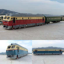 High simulation train,1:87 scale alloy pull back Dongfeng double train, carriage, trailer,toy cars,free shipping(China)