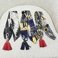 95*5 CM Chiffon Marca de Luxo Inverno Graffiti Impresso Lenços Borla Faixa de Cabelo Pequena Fita Cachecol Multifunções Mulheres Twilly HS6