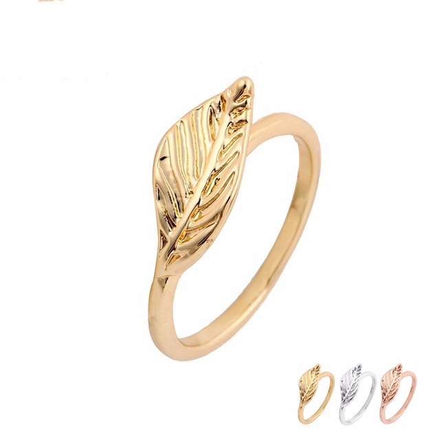 Online Shop Wholesale 10pcsLot Big Golden Leaf Rings Gold Silver