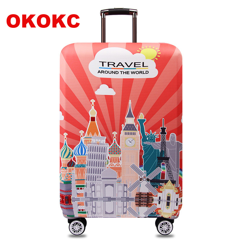 OKOKC Around The World Elastic Thicken Travel Suitcase Protective Luggage Cover Apply to 18''-32'' Case Suitcase, Travel