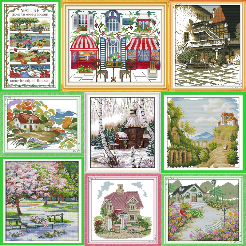 Cross Stitch Kits Autumn Cottage Full Range Of Embroidery Starter Kits Beginners For Diy Embroidery With 40 Pattern Designs 16 X 20 Inch