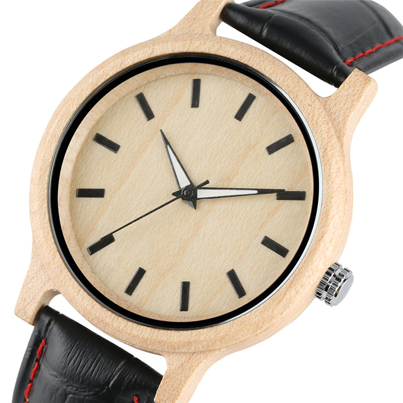 Modern Simple Black/White Stitch Real Leather Quartz Maple Wood Watches for Men Women Fashion Natural Wooden Wristwatch Gifts