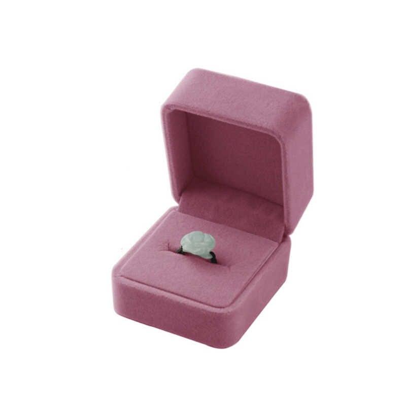 Vendita 1 PC di Alta Qualità di Stoccaggio di Presentazione Della Collana/Braccialetto/Anello/Pendente Contenitore di Monili di Velluto Custodia In Plastica Display box 4 Colori