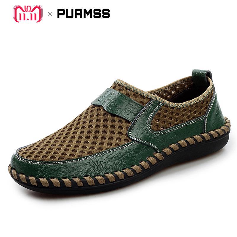 2017 Neue Sommer Marke Männer Schuhe Leder Casual Schuhe Männer Müßiggänger Bequeme Mode Zapato Atmungsaktives Mesh Flache Mann Schuhe üPpiges Design