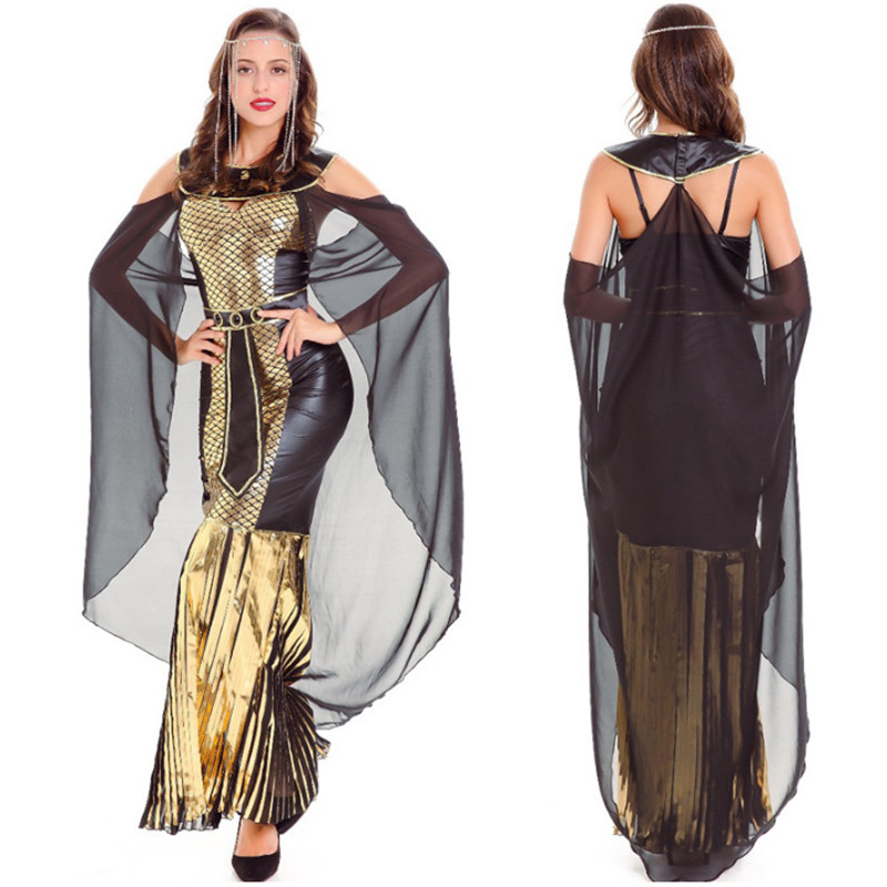 Deluxe Sexy Cleopatra Dress Masquerade Party Black Panther Fancy Cosplay Costume Egyptian Goddess Egypt Queen clothing halloween