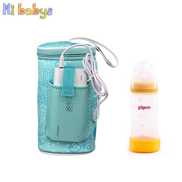 USB biberón calentador bolsa aislante taza de viaje portátil en calentadores de coche bebida caliente leche termostato bolsa para alimentación recién Nacido