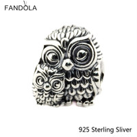100 Real 925 Sterling Silver Charming Owls Charm Beads Fit Original Bracelet Pendant Authentic Jewelry Gift