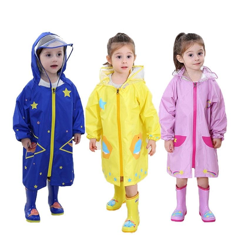 Polyester Children Raincoat Hooded Cloak Breathable Transparent Rainwear Waterproof Coat Children Poncho Fashion Rain Coat