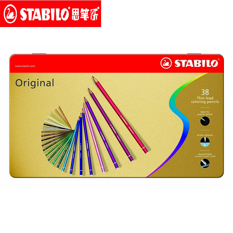 цена Stabilo Original Colored Pencils 12/24/38 Colors Thin Lead Oil Based Wooden Pencils Lapis Colored for Drawing, Coloring Tin Box