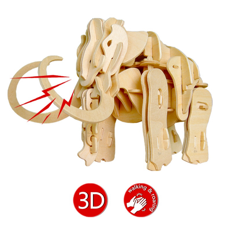 Robotime Roaring Walking Mammoth Sound Control Ancient Animal Toy 3D Wooden Model Nice Gift for Children Hobbies A400