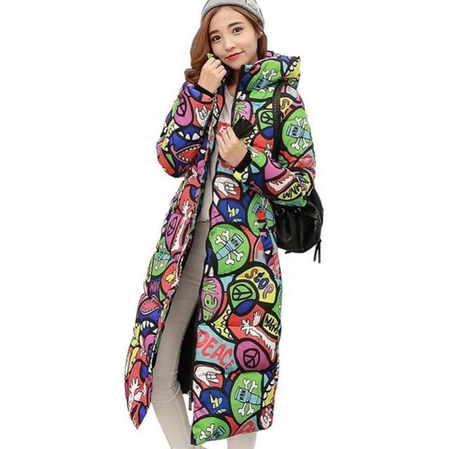 2017 Autumn Winter Coat Women Design Padded Down Cotton Coat Plus Size Slim Jacket Hooded Zipper Long Parkas Jacket Women C2381