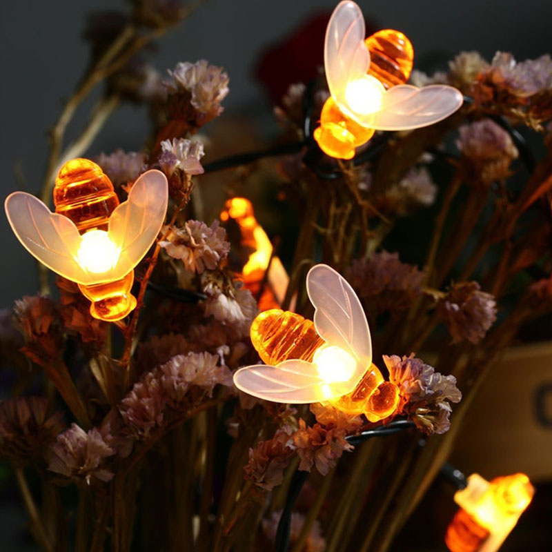 Solar Powered LED String Lights 15Ft 30 Cute Honeybee 2 Modes Decorative Fairy Lights for Outdoor Wedding Garden Patio Party etc