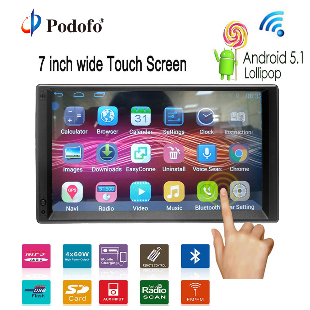 Podofo 2 DIN Android 5.1 Autoradio Bluetooth 1080P Car Android GPS Navigation Player Car Stereo MP5 Touch Screen Support 3G WIFI