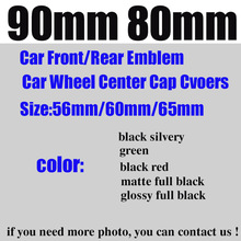 цена на Car Styling Front/rear Emblem 90mm 80mm wheel center cap 65mm/60mm/56mm green/black silvery/full black/black red/matte/glossy