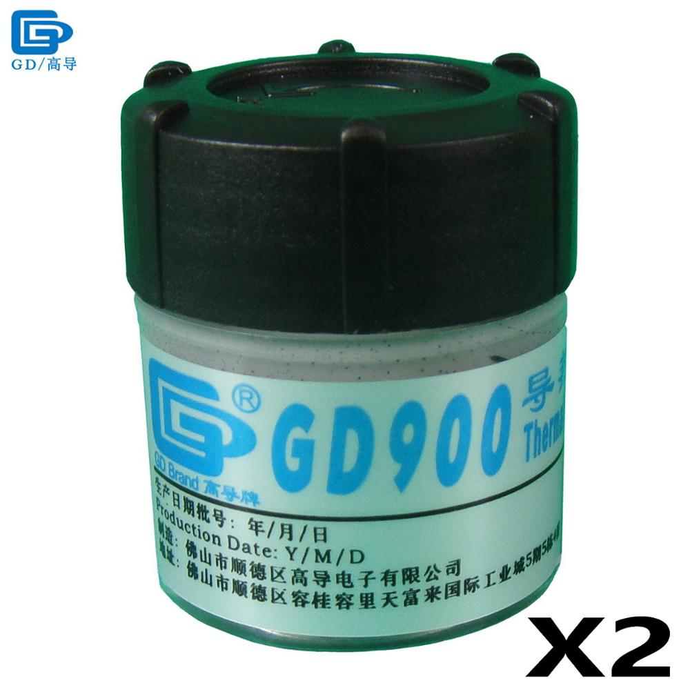 GD900 Thermal Conductive Grease Paste Silicone Plaster Heatsink Compound 2 Pieces Net Weight 30 Grams High Performance Gray CN30 gd brand thermal conductive grease paste silicone plaster gd460 heat sink compound net weight 1000 grams silver for led cn1000