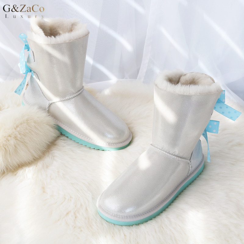 G&Zaco Luxury Sheepskin Snow Boots Double Bow Sweet Fur Boots Wool Snow Boots Female Fashion Girl Flat Winter Shearling Boots купить в Москве 2019