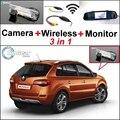 3 in1 Especial Cámara + Receptor Inalámbrico + Sistema de Copia de seguridad Aparcamiento Monitor Del Espejo DIY Fácil Para Renault Koleos
