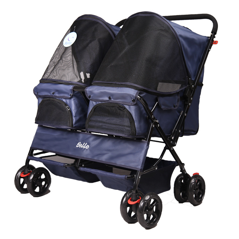 Super Large Space Double Dog Strollers Multi Pet Trolley