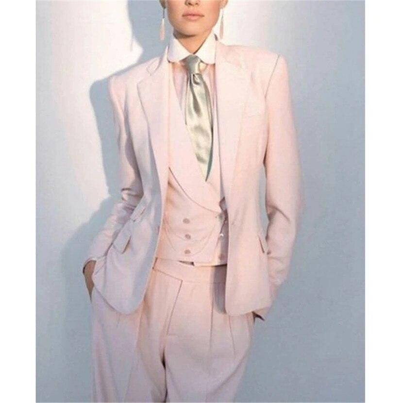 2019 nouveau bureau d'affaires rose des femmes 3 pièces costumes formels femmes sur mesure uniforme fête bal costumes Garnitur Damski