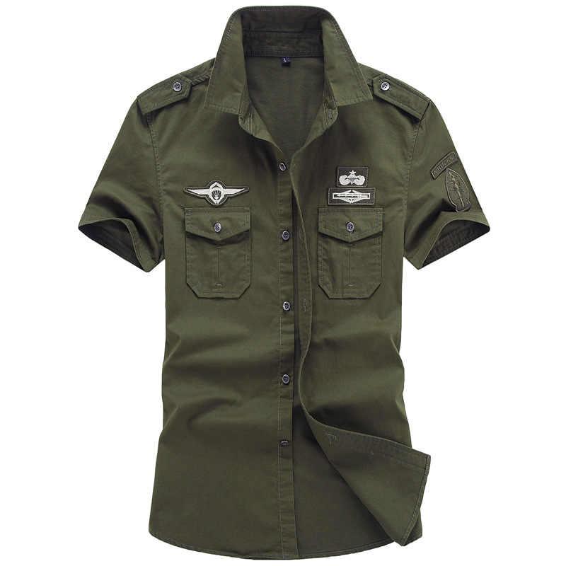 Camisa Camisas Dos Homens do Estilo Do Exército militar Tático de Manga Curta Camisas Camisas de Colarinho Verde Roupas Uniforme Militar Americano Masculino