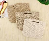 New Handmade Women Summer Beach Bag Vintage Cotton And Linen Mixed Handbag Hot Sale Beach Bags