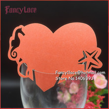 50X DIY Place Card Seahorse Cups Glass Wine Wedding Name Cards Laser Cut Love Heart Shape Birthday Party Decoration
