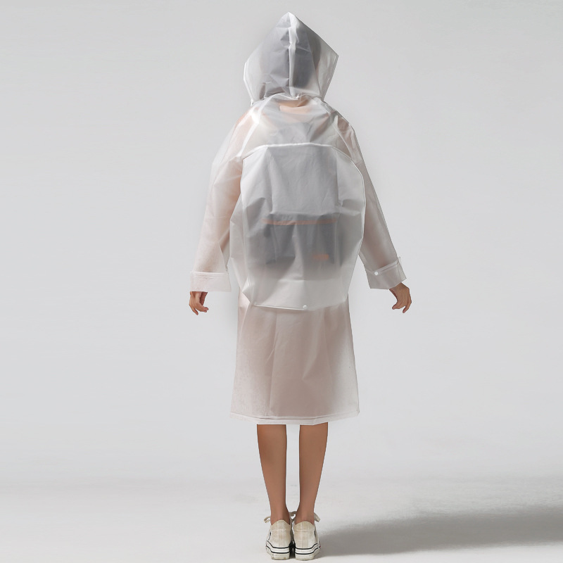 Image 4 - Fashion EVA transparent waterproof women raincoat poncho windproof rain coat with school bag location Climbing Tour raincoat-in Raincoats from Home & Garden