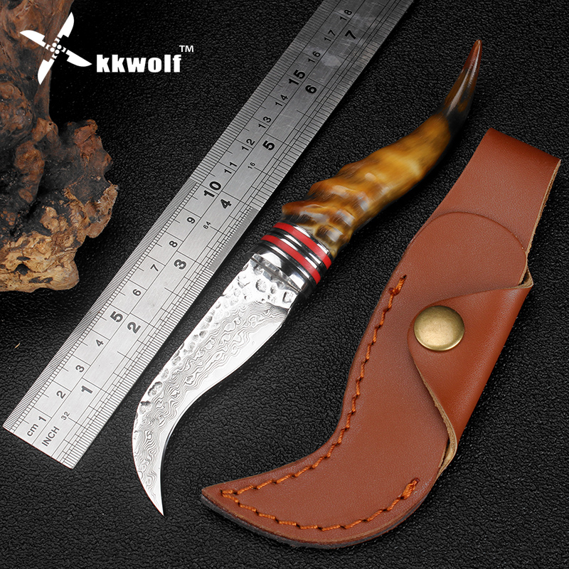 KKWOLF damascus pocket knife handmade Damascus Steel Outdoor camping tactical survival karambit knife sheep horn hunting knife kkwolf damascus steel antler handle fixed blade knife survival camping tactical hunting knife pocket multi tools lowest price
